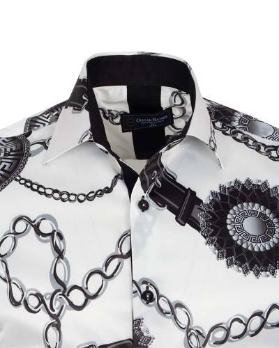 Printed Mens Satin Shirt SL 7163
