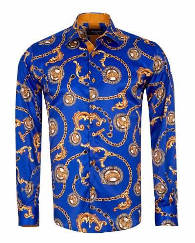Oscar Banks - Printed Mens Satin Shirt SL 7164