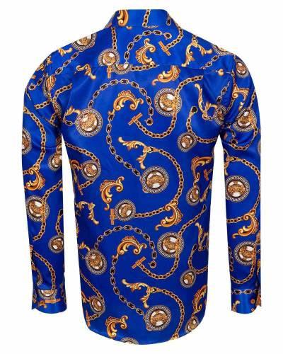 Oscar Banks - Printed Mens Satin Shirt SL 7164 (1)