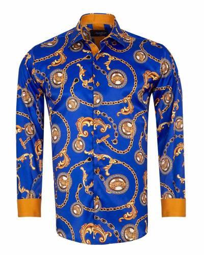 Printed Mens Satin Shirt SL 7164