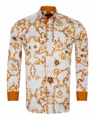 Printed Mens Satin Shirt SL 7166
