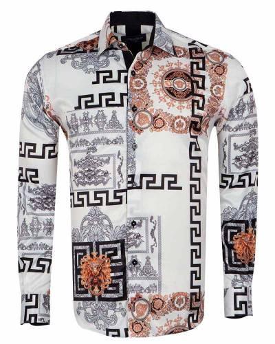 Oscar Banks - Printed Mens Satin Shirt SL 7167