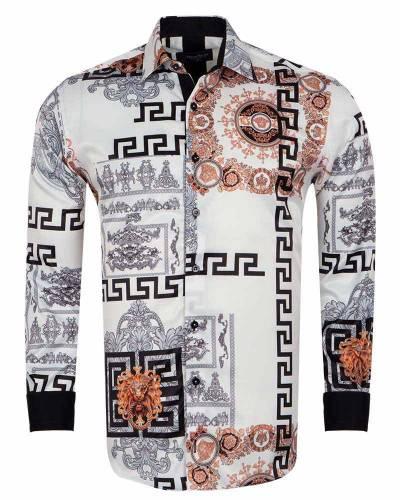 Printed Mens Satin Shirt SL 7167