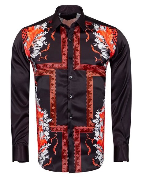 Oscar Banks - Printed Satin Shirt SL 6831