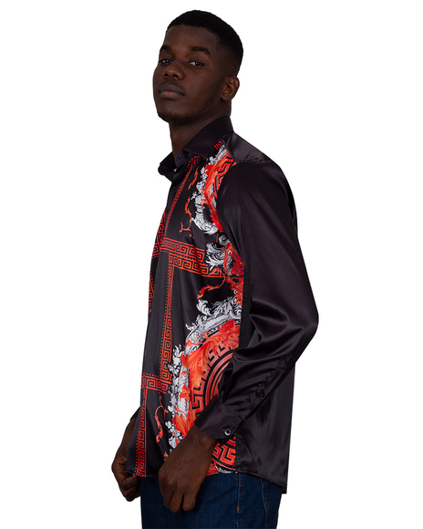 Oscar Banks - Printed Satin Mens Shirt SL 6831