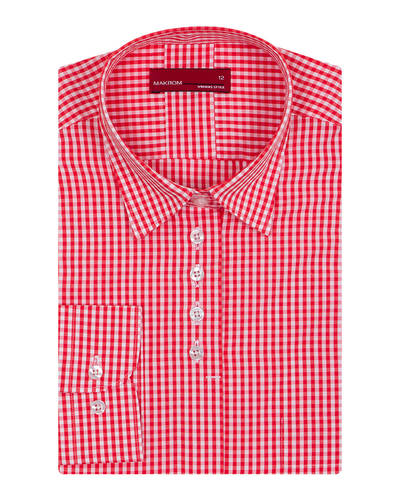 MAKROM - Red Check Pattern Printed Womens Shirt LL 3311