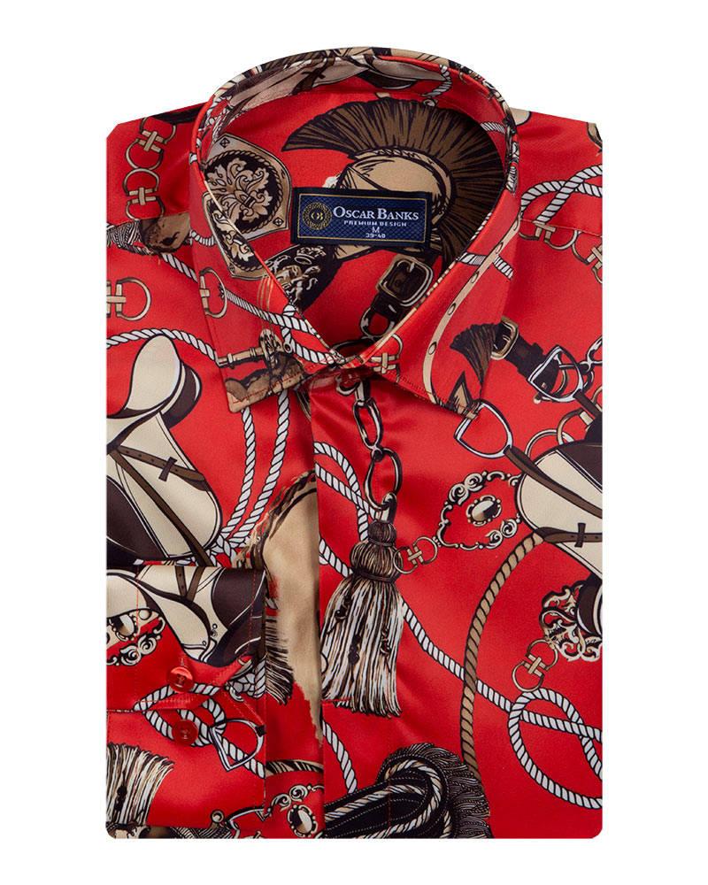 b22261dc09b3 Ropes Printed Long Sleeved Satin Shirt SL 6772. 89.90 USD. New