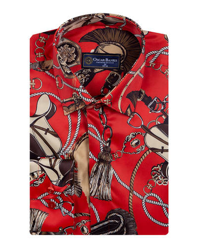 Oscar Banks - Ropes Printed Long Sleeved Satin Shirt SL 6772 (1)