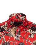 Ropes Printed Long Sleeved Satin Shirt SL 6772 - Thumbnail