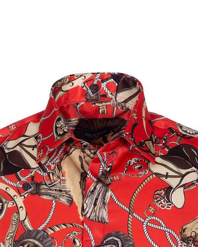c0cd5916e178 Ropes Printed Long Sleeved Satin Shirt SL 6772   Oscar Banks