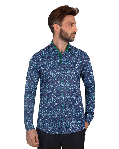 MAKROM - Printed Long Sleeved Mens Shirt SL 7082 (1)