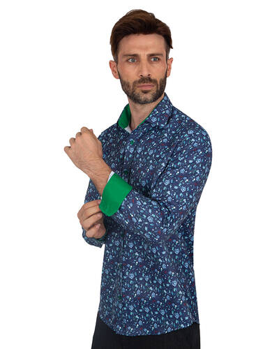 MAKROM - Printed Long Sleeved Mens Shirt SL 7082 (Thumbnail - )
