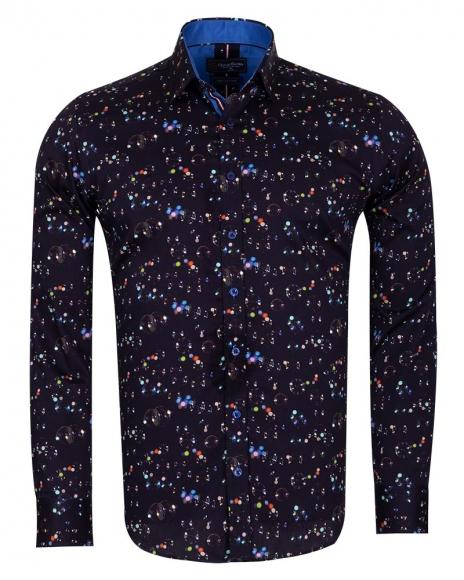 Oscar Banks - Shapes Printed Pure Cotton Mens Shirt With Color SL 6708
