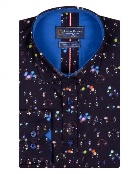 Oscar Banks - Shapes Printed Pure Cotton Mens Shirt With Color SL 6708 (1)