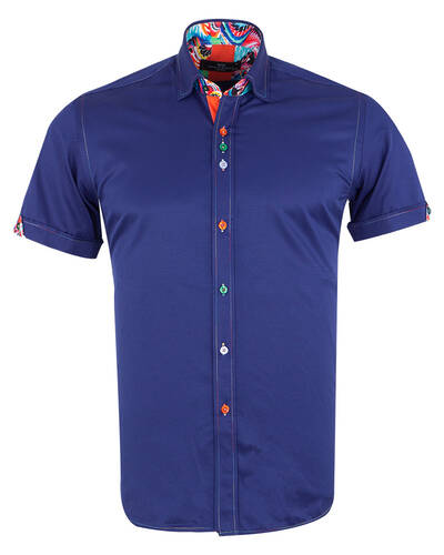 MAKROM - Short Sleeved Mens Shirt With Details SS 7026 (Thumbnail - )