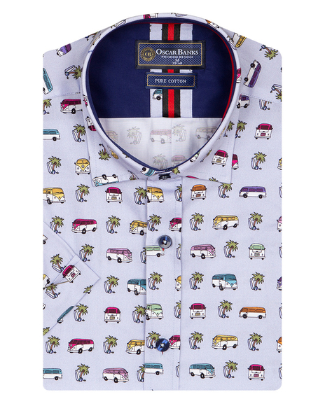 Oscar Banks - Short Sleeved Bus Printed Mens Shirt SS 6838 (1)