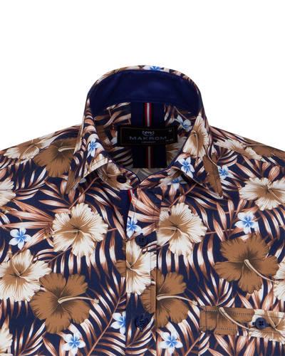 Short Sleeved Printed Mens Shirt SS 7054