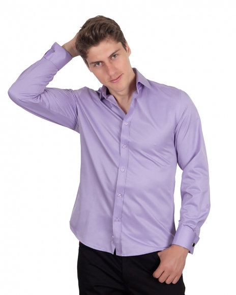 MAKROM - Plain Double Cuff Long Sleeved Mens Shirt SL 1045-A
