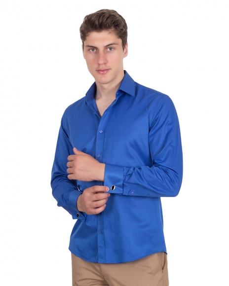 MAKROM - Plain Double Cuff Long Sleeved Mens Shirt SL 1045-A (Thumbnail - )