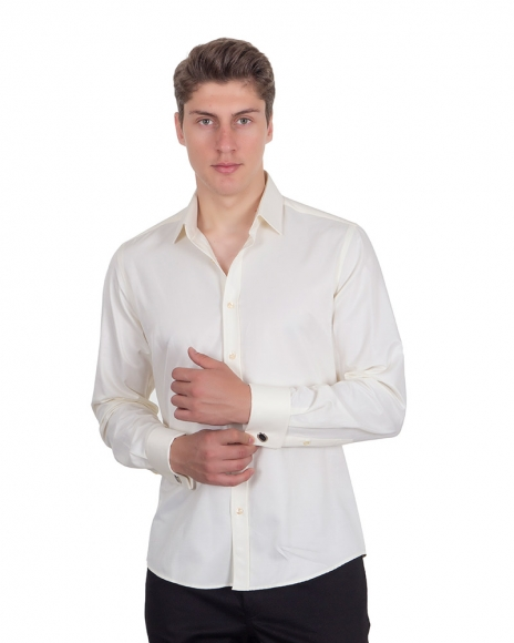 MAKROM - Plain Double Cuff Long Sleeved Mens Shirt SL 1045-B