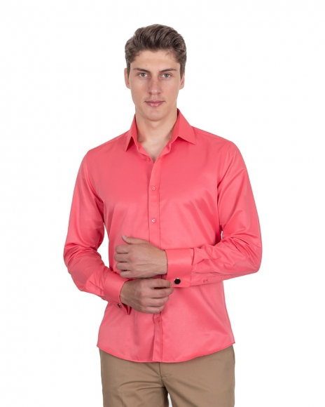 MAKROM - Plain Double Cuff Long Sleeved Mens Shirt SL 1045-B (Thumbnail - )