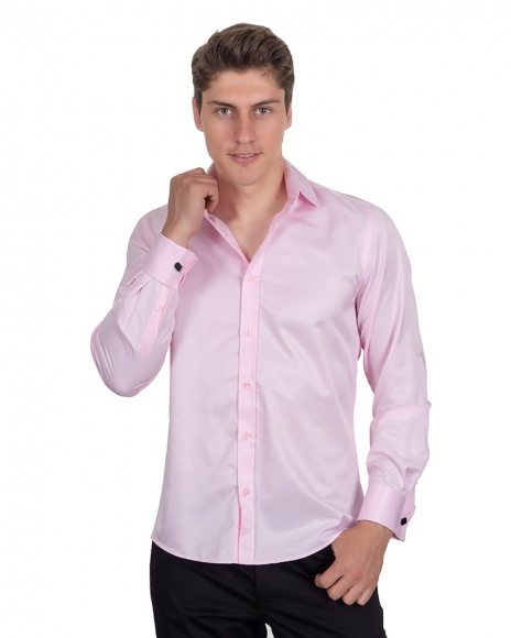 MAKROM - Plain Double Cuff Long Sleeved Mens Shirt SL 1045-C