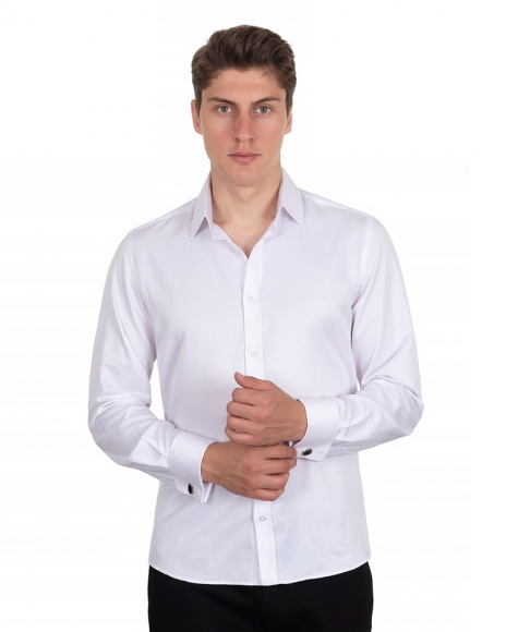 MAKROM - Plain Double Cuff Long Sleeved Mens Shirt SL 1045-C (Thumbnail - )