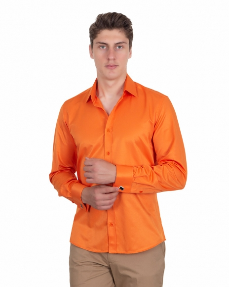 MAKROM - Plain Double Cuff Long Sleeved Men Shirt SL 1045-D (Thumbnail - )