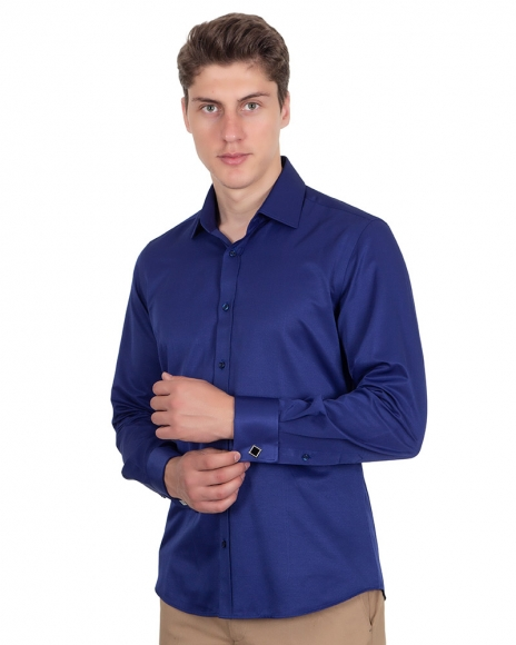 MAKROM - Plain Double Cuff Long Sleeved Mens Shirt SL 1045-D