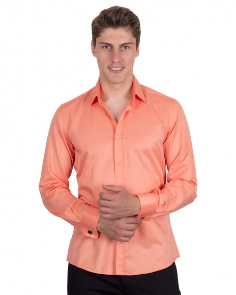 MAKROM - Plain Double Cuff Long Sleeved Mens Shirt SL 1045-E