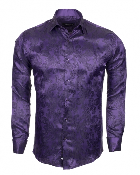 MAKROM - Printed Satin Long Sleeved Shirt SL 446 (Thumbnail - )