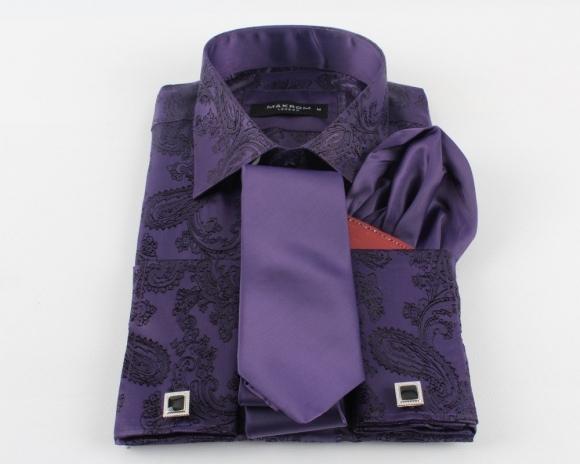 MAKROM - Printed Satin Long Sleeved Shirt SL 446 (Thumbnail - )