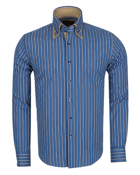 MAKROM - Double Collar Long Sleeved Striped Shirt SL 5187 (Thumbnail - )