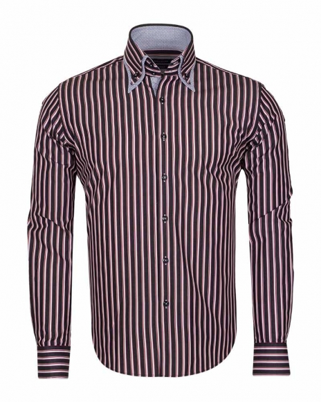 MAKROM - Double Collar Long Sleeved Striped Shirt SL 5187