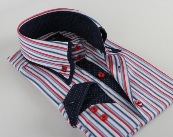MAKROM - Double Collar Long Sleeved Striped Shirt SL 5187 (Thumbnail - )