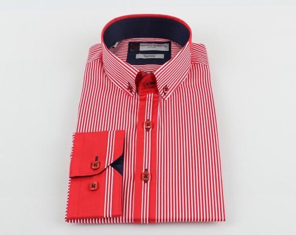 OSCAR BANKS - Paisley Printed and Striped Long Sleeved Shirt SL 524 (Thumbnail - )