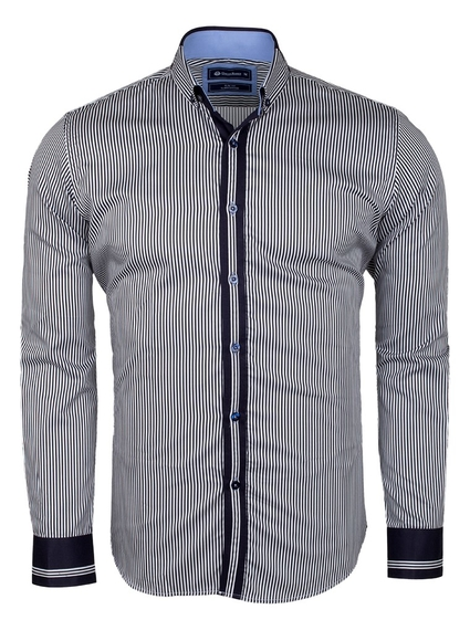 Oscar Banks - Paisley Printed and Striped Long Sleeved Shirt SL 524