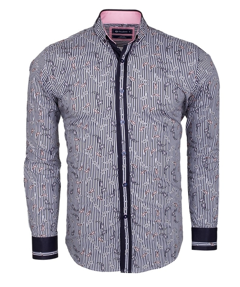 Oscar Banks - Paisley Printed and Striped Long Sleeved Shirt SL 524 (Thumbnail - )