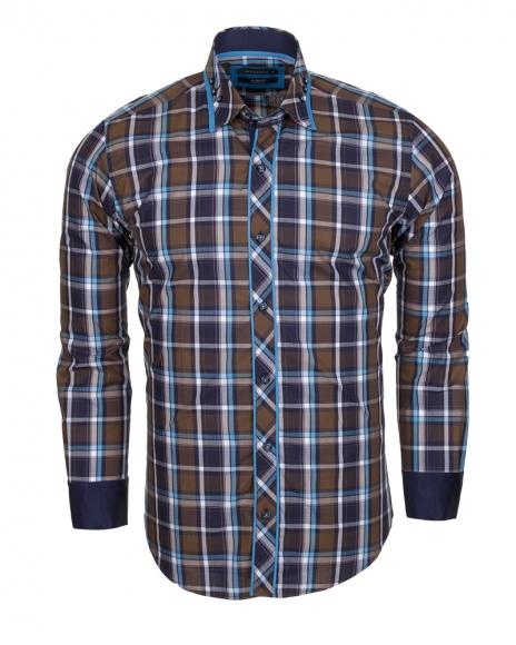 MAKROM - Checkhered Multicolor Cotton Long Sleeved Shirt SL 5403