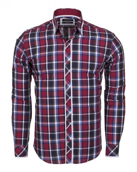 MAKROM - Check Multicolor Cotton Long Sleeved Mens Shirt SL 5403 (Thumbnail - )