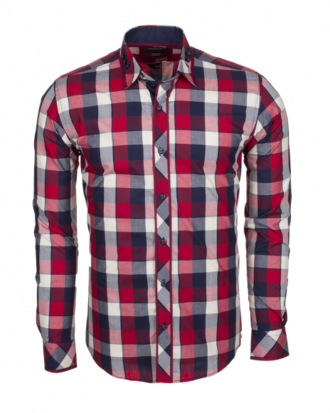 MAKROM - Checkhered Multicolor Cotton Long Sleeved Shirt SL 5403 (Thumbnail - )