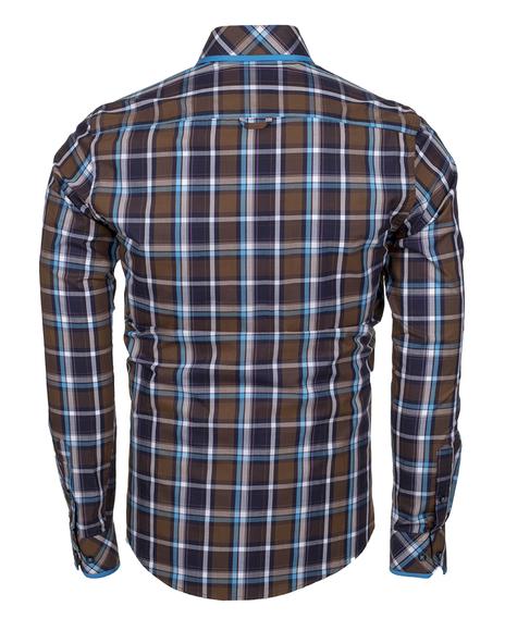 MAKROM - Check Multicolor Cotton Long Sleeved Mens Shirt SL 5403 (1)