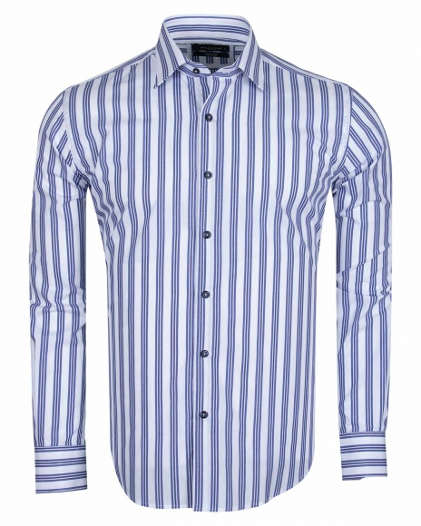 MAKROM - Long Sleeved Cotton Striped Shirt 5405