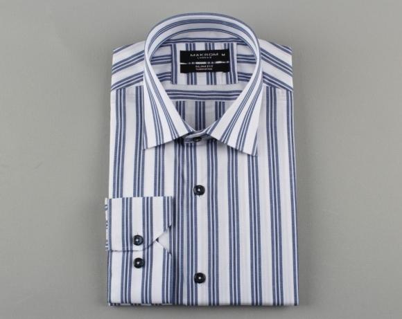 MAKROM - Long Sleeved Cotton Striped Shirt 5405 (Thumbnail - )