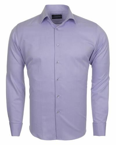 MAKROM - Business Style Plain Double Cuff Long sleeved Mens Shirt SL 5482 (Thumbnail - )