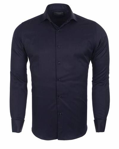 MAKROM - Business Style Plain Double Cuff Long sleeved Mens Shirt SL 5482