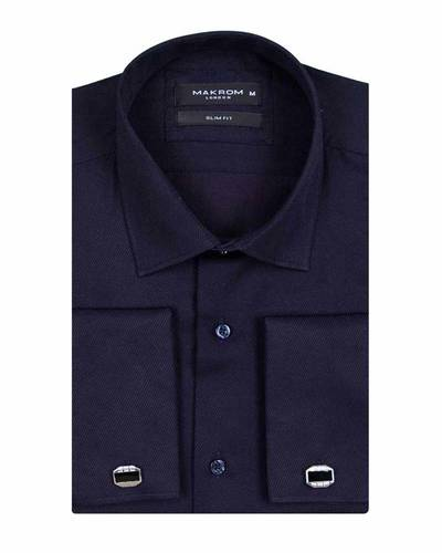 MAKROM - Business Style Plain Double Cuff Long sleeved Mens Shirt SL 5482 (1)