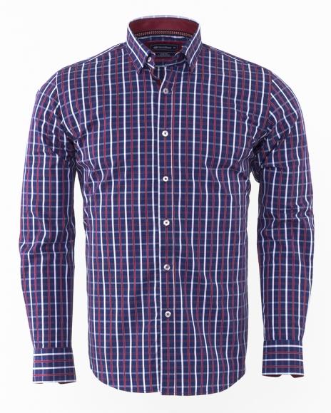 Oscar Banks - Oscar Banks Check Classical Long Sleeved Mens Shirt SL 5844