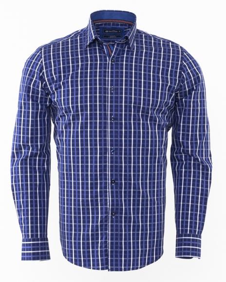 Oscar Banks - Oscar Banks Check Classical Long Sleeved Mens Shirt SL 5844 (Thumbnail - )