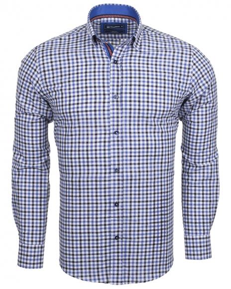 Oscar Banks - Cotton Check Classical Long Sleeved Mens Shirt SL 5849 (Thumbnail - )